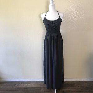 Express dark gray halter tie maxi dress XS